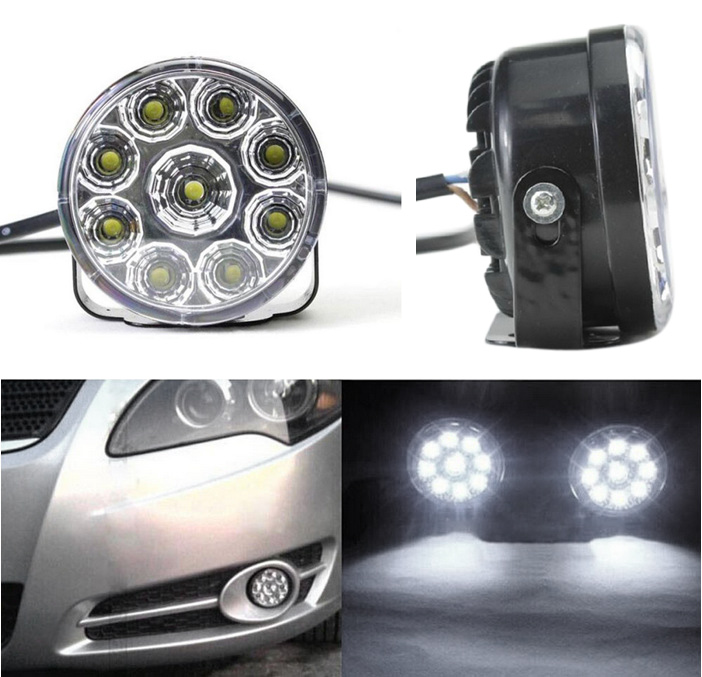 2pcs 9 LED 12V Car Fog Light Daytime Running Lamp DRL Durable Driving Super Bright LED Bulb White Round 1pcs high power h3 led 80w led super bright white fog tail turn drl auto car light daytime running driving lamp bulb 12v