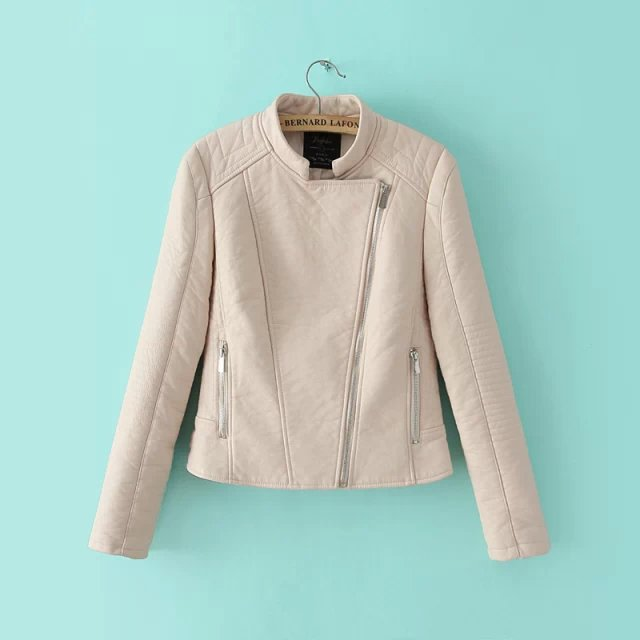 Cream collarless leather jacket – Modern fashion jacket photo blog