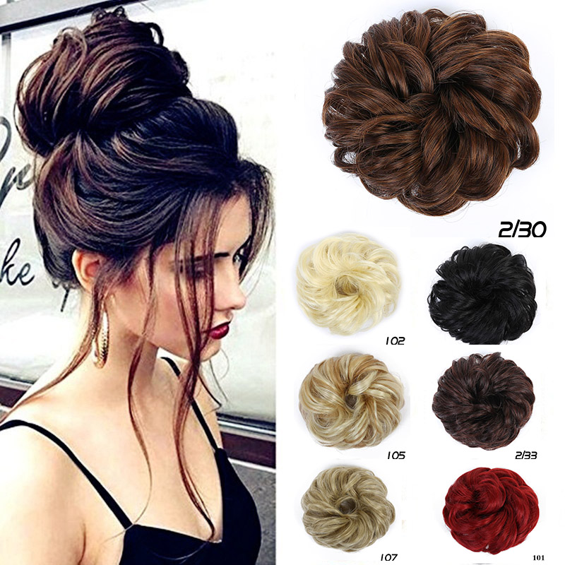 MUMUPI Women Girl Tail Hair Extension Bun Hairpiece Scrunchie Elastic Wave Curly Hairpiece Wrap For Hair Bun Chignon   headwear