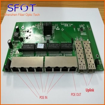 2 Ports SFP+8 Ports RJ45 POE reverse Switch board, not manageable, 1~7 ports POE IN and port 8 POE OUT