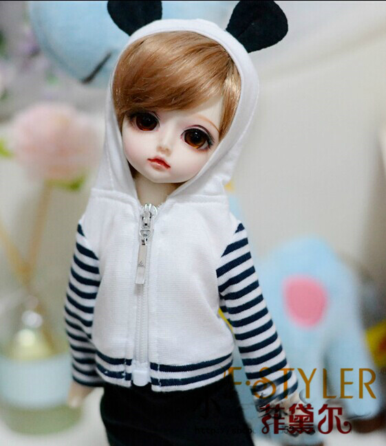 BJD doll clothes SD MSD YOSD Doll clothes  panda modelling coat suits   Free shipping casual leather jacket coat for bjd doll 1 6 1 4 msd 1 3 uncle ip soom doll clothes cw52