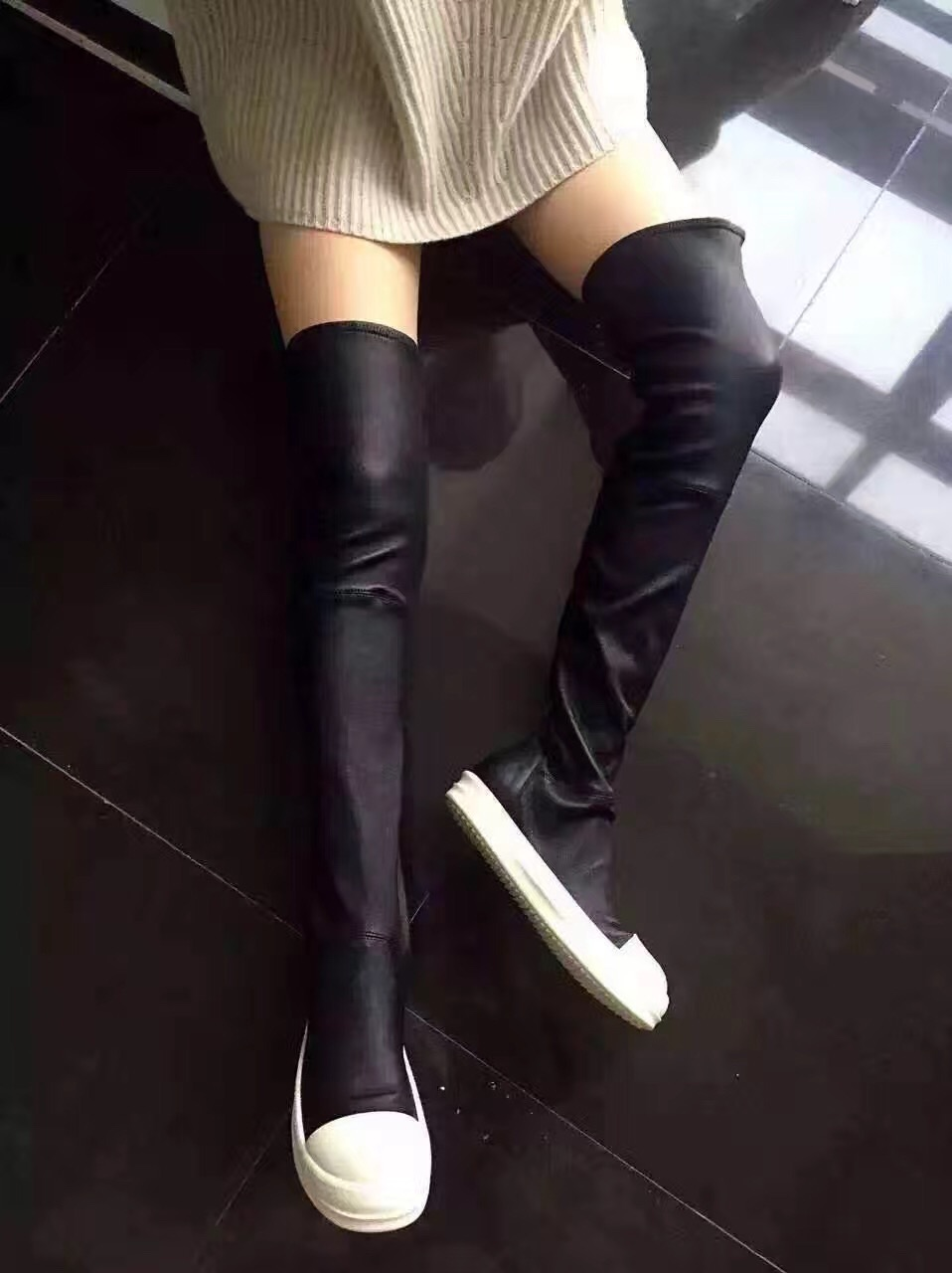 e53569f81e High Quality Black White Rubber Sole Over the Knee Boots Fashion Sock  Elastic Boot Winter Flat Boots For Women Free Ship-in Over-the-Knee Boots  from Shoes ...