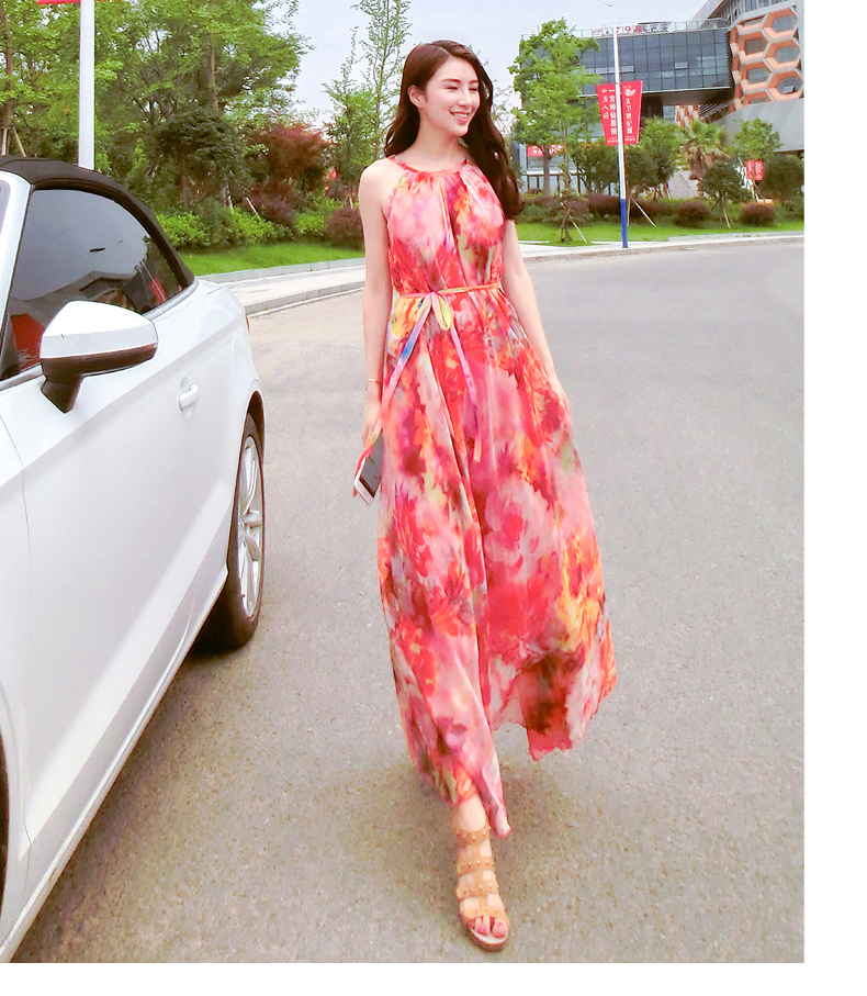 43bf20c11054f 2017 summer print beach chiffon one-piece dress plus size bohemia spaghetti  strap full maxi