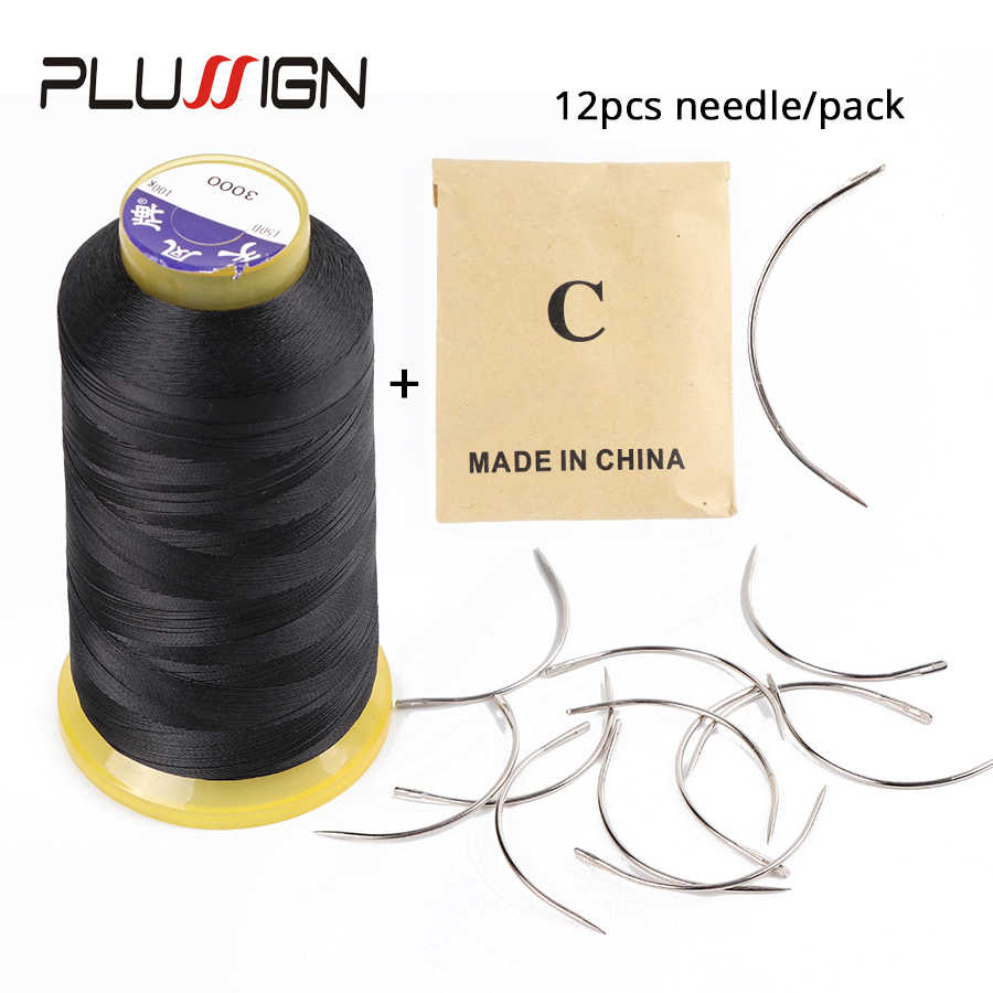 Plussign 12 шт./пакет 6 см C Форма изогнутые иглы и 1 черный Roll нить парик делает вязанная косами вентиляции волос ткацкая игла