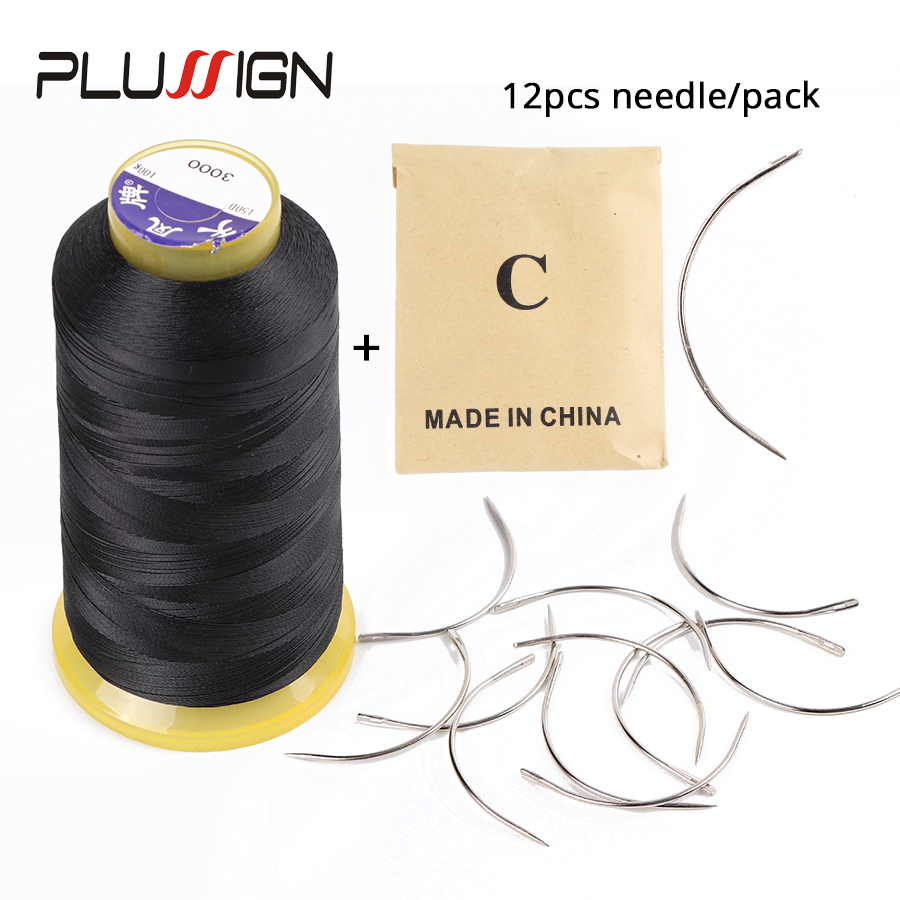 Plussign 12Pcs/Bag 6 Cm C Shape Curved Needles And 1 Black Roll Thread Wig Making Crochet Braids Ventilating Hair Weaving Needle