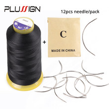 Plussign 12Pcs/Bag 6 Cm C Shape Curved Needles And 1 Black Roll Thread Wig Making Crochet Braids Ventilating Hair Weaving Needle(China)