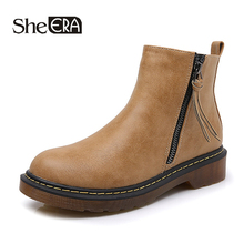 New Fashion Women Boots Retro Women Ankle Boots Ochre/Gray/Black Casual Lady Shoes Spring/Autumn/Winter Zip Female Shoes She ERA