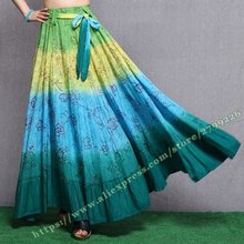 Spring Bohemia 100% Cotton tie-dyeing Novel Neon Sequins Beaded Long Maxi Skirt with Womens