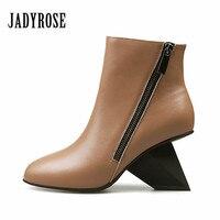 Jady Rose New Dot Design Women Ankle Boots Strange Heel Wedges Double Zipper Wedge Shoes Woman