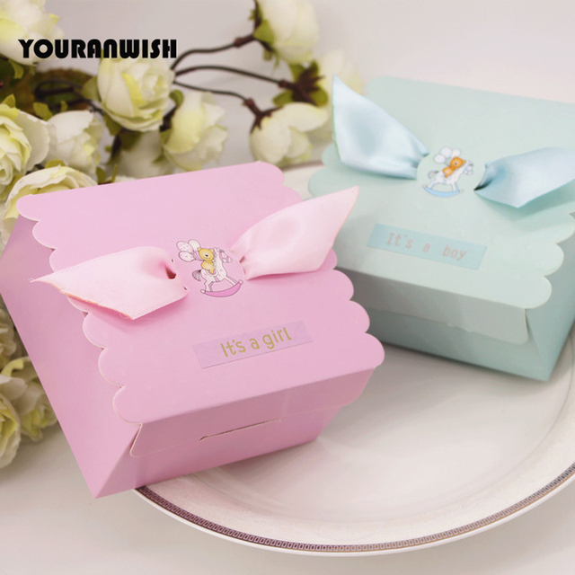 New Blue Pink Baby Shower Favors Gifts Candy Boxes Party Gift Box