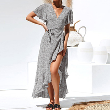 цены на Sexy Polka Dot Print Women Dress Boho Style Long V-Neck Ruffles Short Sleeve Chiffon Female Dress Summer Sundress Vestidos 2019  в интернет-магазинах