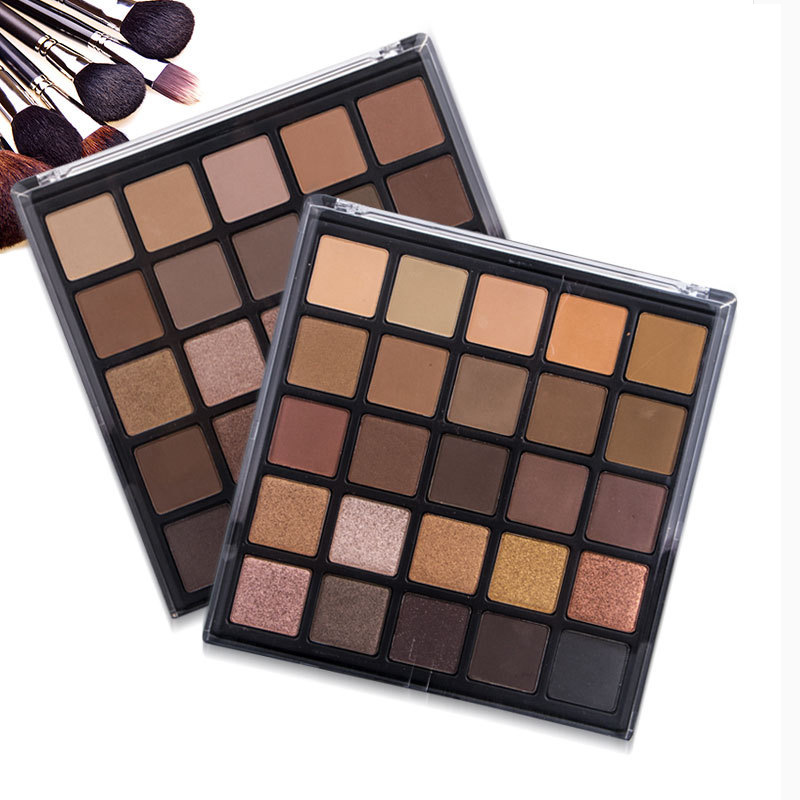 POPFEEL 25 Colors Matte Shimmer Eyeshadow Palette Bronzed Earth Warm Makeup Palette Metallic Make Up Smoky Warm Eye Shadow