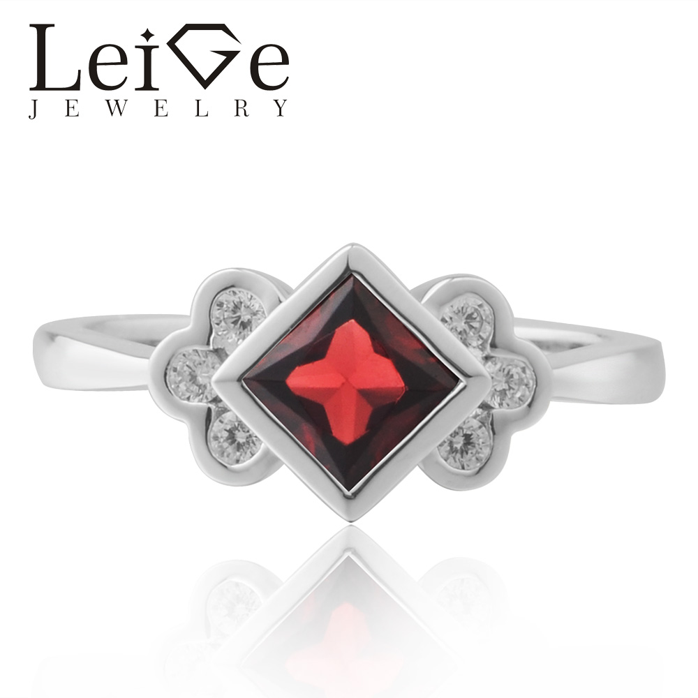 Leige Jewelry Natural Garnet Ring Square Cut Red Gemstone Engagement Rings For Woman Sterling Sliver 925 Janurary Birthstone цена