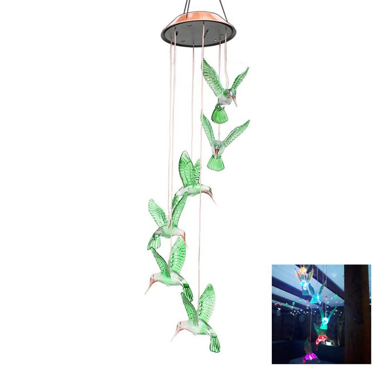 BESTOYARD Color Changing LED Solar Wind Chime LED Changing