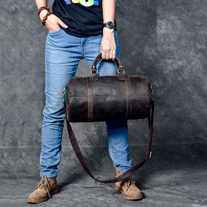 Genuine Leather Waterproof Barrel Travel Bags Tote Crossbody Mens Real Leather Messenger Bag Women shoulder retro Leather bagGenuine Leather Waterproof Barrel Travel Bags Tote Crossbody Mens Real Leather Messenger Bag Women shoulder retro Leather bag