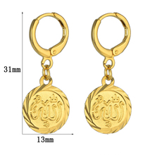 Gold Coin Earrings Arabic Muslim Gold Color Vintage Circle Drop Earrings For Women Girl Authentic Islamic Jewelry