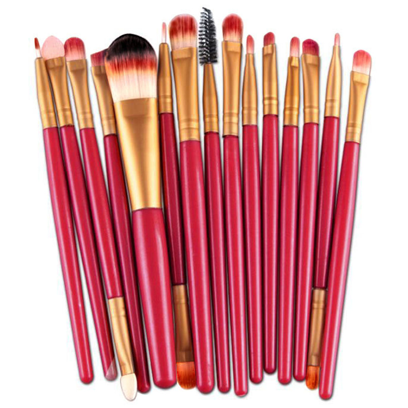 2017 15PCS Concealer Foundation Eyeshadow Eyeliner Cosmetic brush Professional Makeup brushes Natural Pinceis de maquiagem Red