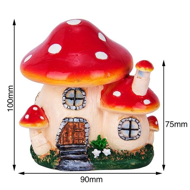 Mushroom House Resin Crafts Mini Fairy home Garden Decor DIY Ornament Landscape Miniatures Resin Accessories Micro Garden 3