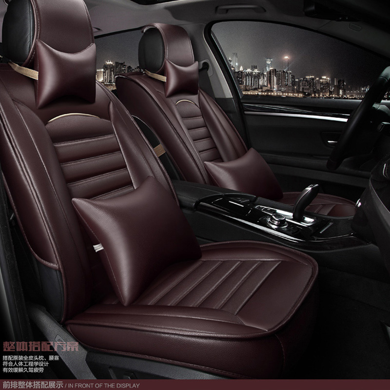 brand black brown pu leather car seat cover front and back Complete set for ford focus fiesta fusion Kuga EDGE car cushion cover