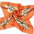 2016 Новый Дизайн Моды Женщин 100% Большой Шелковый шарф Печатных, 85*85 см Франция Стиль Шелк Тутового женский Шарф Платок Осень