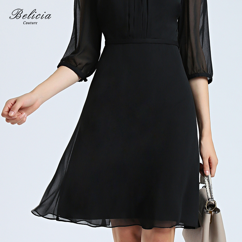 4b203426489 Belicia Couture Black Cocktail Dresses Chiffon Half Sleeves Women Short  Party Gowns A Line Office Elegant Casual Dress -in Cocktail Dresses from  Weddings ...