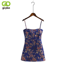 GOPLUS Fashion Chinese Style Spaghetti Strap Floral Print Bodycon Dress Sexy Sleeveless Backless Party Mini Dresses C4985