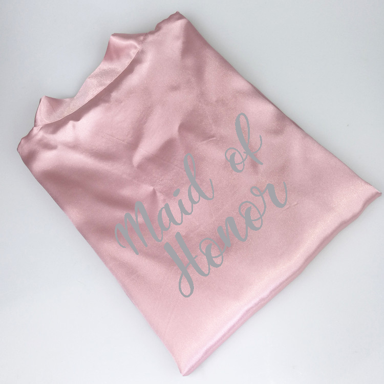 8183fb710c C Fung dark pink robe silver letter kimono personalised satin pajamas  wedding robe bridesmaid sister mother of the bride robes-in Robes from  Underwear ...