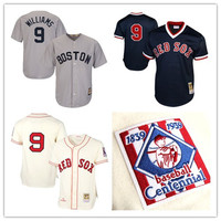 Men S Ted Williams Boston Red Sox Navy Blue 1990 Authentic Cooperstown Gray Cream Baseball Jersey