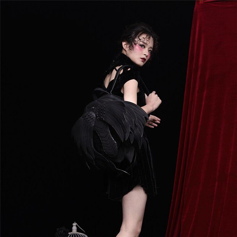 Punk Angel Wing sac à dos pour hommes femmes gothique noir en cuir diable sacs à dos Vintage mode sac d'école Vampire rétro sacs - 6