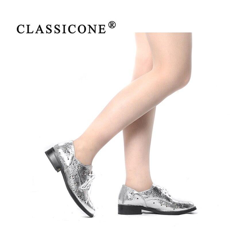 Mode Style Décoration Sexy Véritable Classicone Femme Chaussures Appartements Scoop Printemps Dentelle argent Gris Luxe Cuir Femmes De Automne Avec up Marque PgSwBx6q