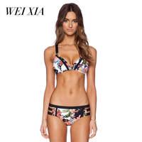 WEIXIA 2018 Latest Luxurious Summer Women Sexy Mid Waist Beach Swimwear Push Up Bikinis Beautiful Attracting