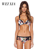 WEIXIA 2018 Latest Luxurious Summer Women Sexy Mid Waist Beach Swimwear Push Up Bikinis Beautiful Attracting