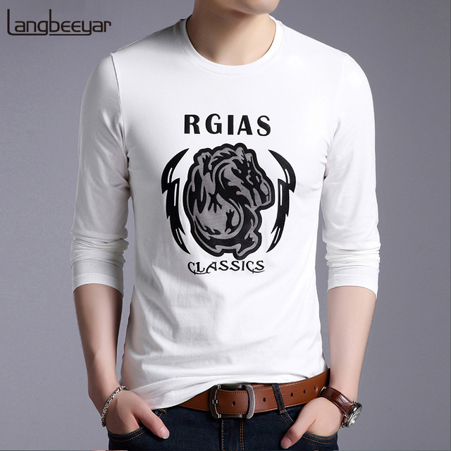 69a7cc145 2019 New Fashion Brand T Shirts For Men Korean Print Cool Trends Street Wear  Tops Trending Cotton Long Sleeve Tee Men Clothes