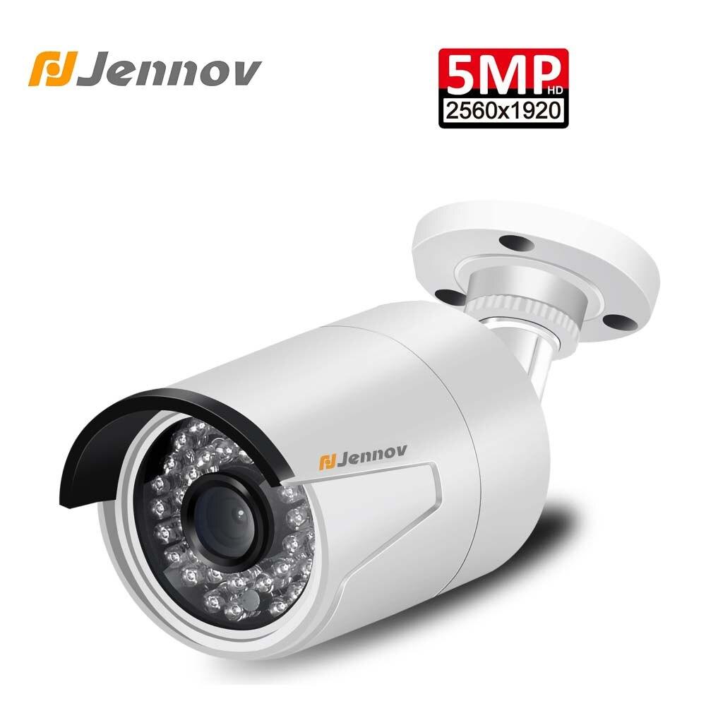 Jennov 5MP H.265 POE vidéo Surveillance caméra de sécurité CCTV caméra extérieure caméra IP caméra filaire P2P NVR Full HD ONVIF Vision nocturne