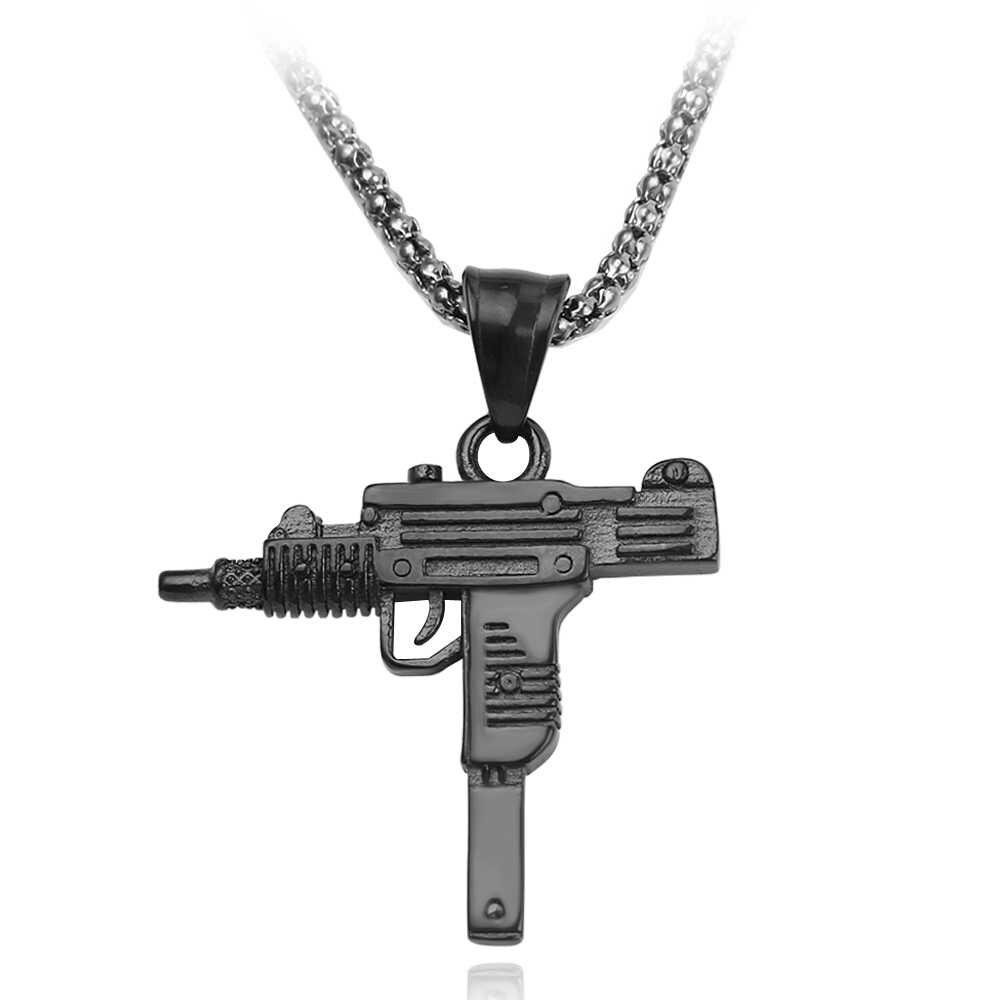 Hip Hop สร้อยคอปืนปืนพกรูปร่างจี้สร้อยคอ Charms 3 สีสำหรับสตรีและผู้ชายแฟชั่น Punk เครื่องประดับอุปกรณ์เสริม