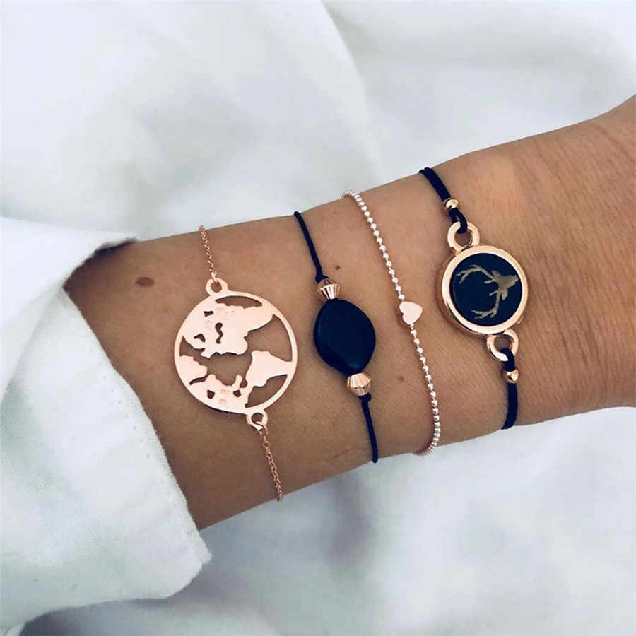 Vintage Accesorios Mujer Boho Bracelets Women Pink Tassel Gold Chain Armband Big Map Heart Love Charm Bracelets Bangles Jewelry