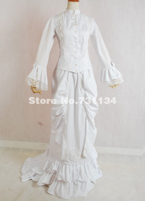 Custom Elegant And Graceful White Cotton 19th Century Histerical ...