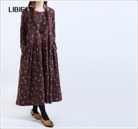 Autumn New Literary Retro Women S Long Dresses Loose Casual Cotton Long Sleeved Floral Dress Plus