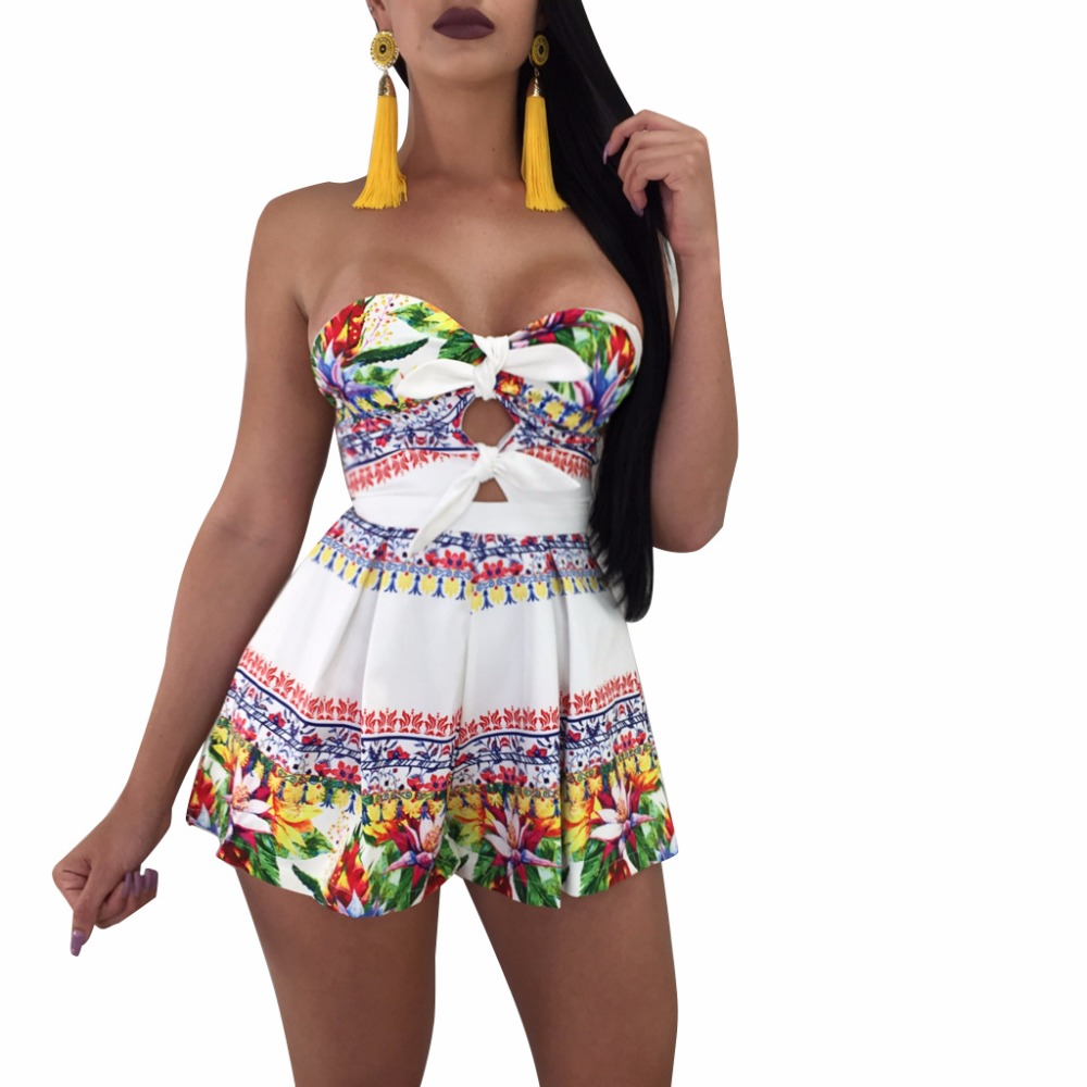 MONNORQ Floral Print Strapless Plus Size Summer Playsuits Boho Style Beach Wear Women Sexy Rompers Loose Casual Jumpsuits S-3XL