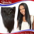 Sin procesar virginal brasileña del pelo humano Clip Ins recto 7 unids/set 7A grado Remy brasileña del pelo humano Clip en extensiones de cabello