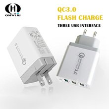 18W Quick Charge 3.0 Fast Mobile Phone Charger for iPhone Samsung Xiaomi Huawei US/EU Plug 3 USB Charger 2.4A USB Charger quick charge 3 0 usb charger travel for iphone samsung micro usb type c fast charging 3 ports eu us plug mobile phone charge