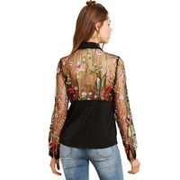 Sisjuly Blouse Spring Summer Fall Tops Black Flower Embroidered Bow See Through Patchwork Lapel Vintage Blouse