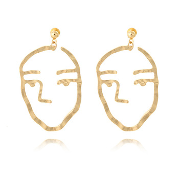 Fashion Jewelry Retro Quirky Fun Face Earrings Studs Gold Abstract Mask Outline Earring Stud Fun Bijoux For Women Birthday Gifts earrings