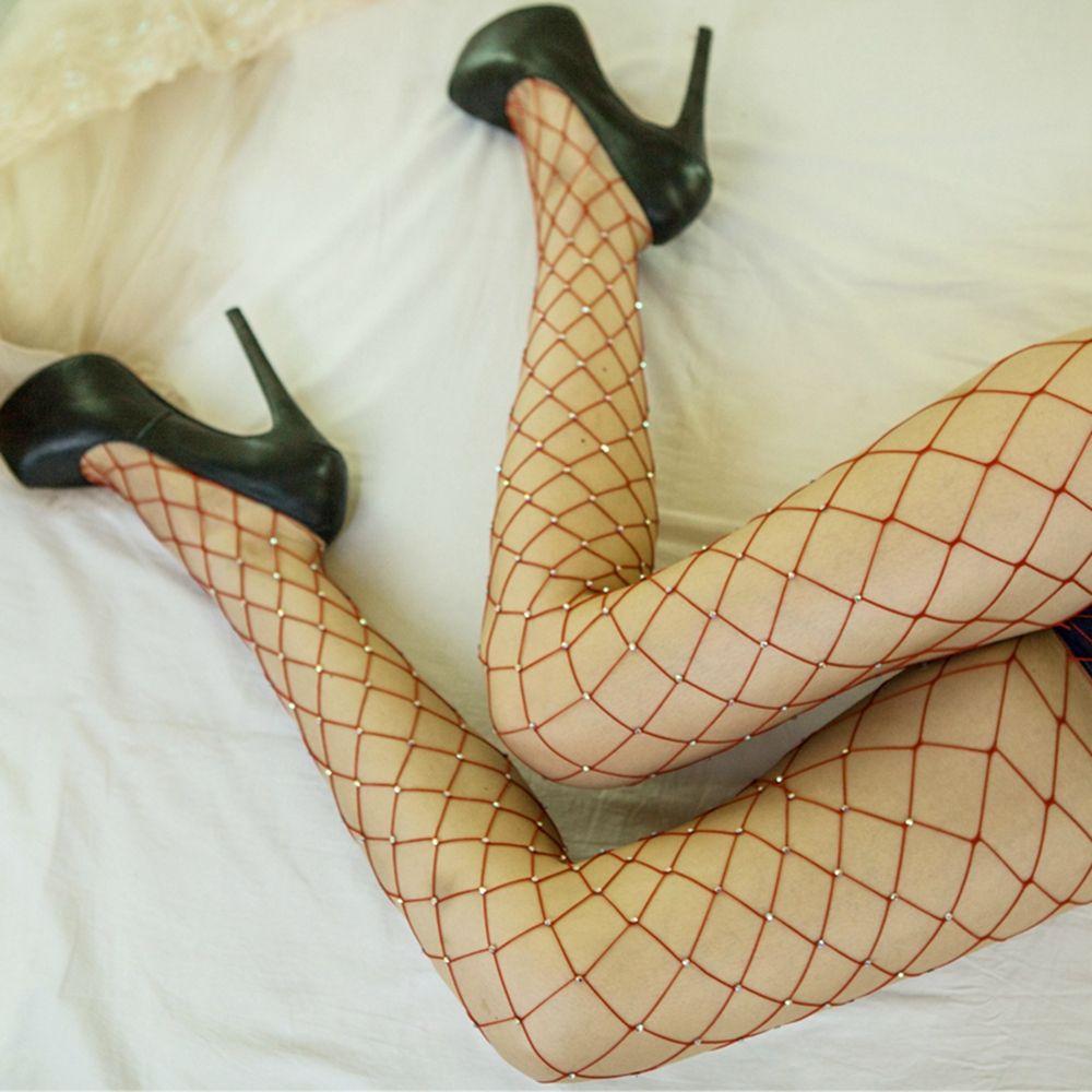 Hot Sale 2017 Fashion Women Crystal Rhinestone Fishnet Elastic FishNet Tights Pantyhose Summer Mesh Tight