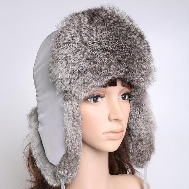 H366-autumn and winter design  natural rabbit fur aviator cap,warm ski gray  ladies military hats