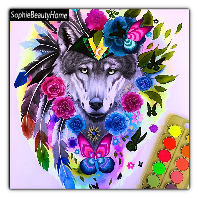 DIY Diamond pictures Embroidery animal hand-painted wolf 5D diamond cross stitch 3D diamond mosaic home decoration gifts