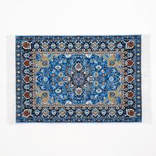 Odoria 1:12 miniatura azul estampado Floral Vintage Alfombra tejida manta casa de muñecas accesorios decoración de dormitorio sala de estar