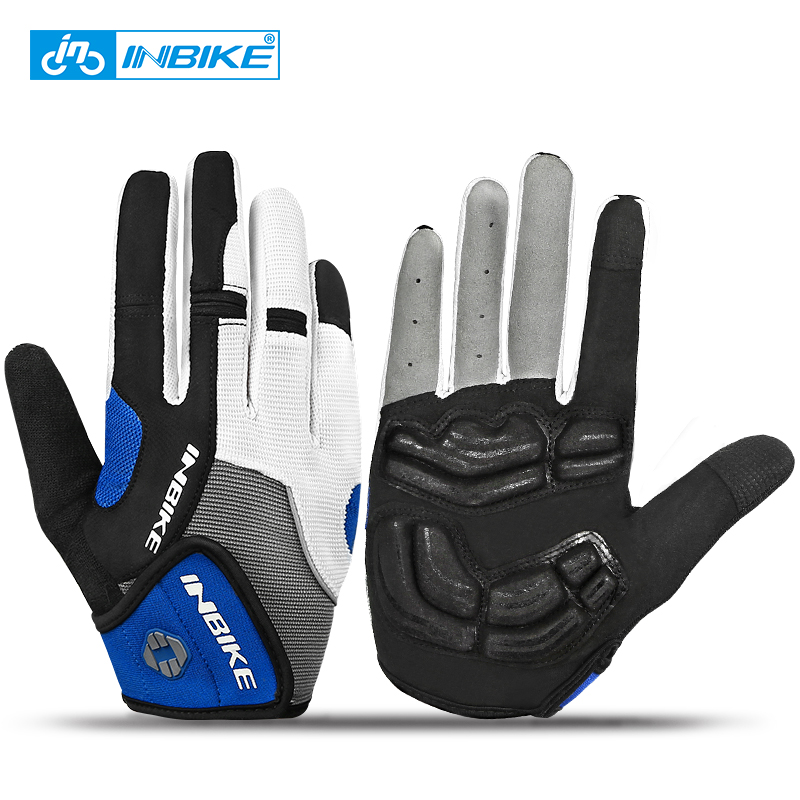 INBIKE Bicycle Bike Cycling Gloves Full Finger Gel Padded Outdoor Sports Skiing Glove Motorcycle Racing Climbing Gloves ciclismo spakct bike cycling men s gloves winter full finger gloves bike bicycle guantes ciclismo racing outdoor sports black new motor