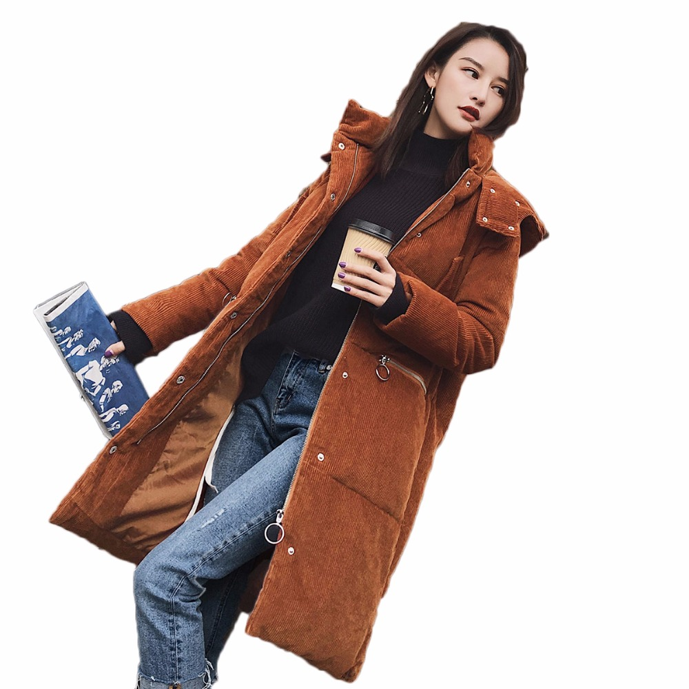 Winter Jacket Women Parka 2017 New Corduroy Padded Coat Solid Hooded Thicken Warm Outwear For Female Parka Overcoat QW705 new winter women lady thicken warm coat hood parka long jacket overcoat outwear