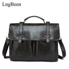NEW Genuine Leather Coffee Men Briefcase 14 inch Laptop Business Bag Cowhide Men's Messenger Bags Luxury Lawyer Handbags LB8814
